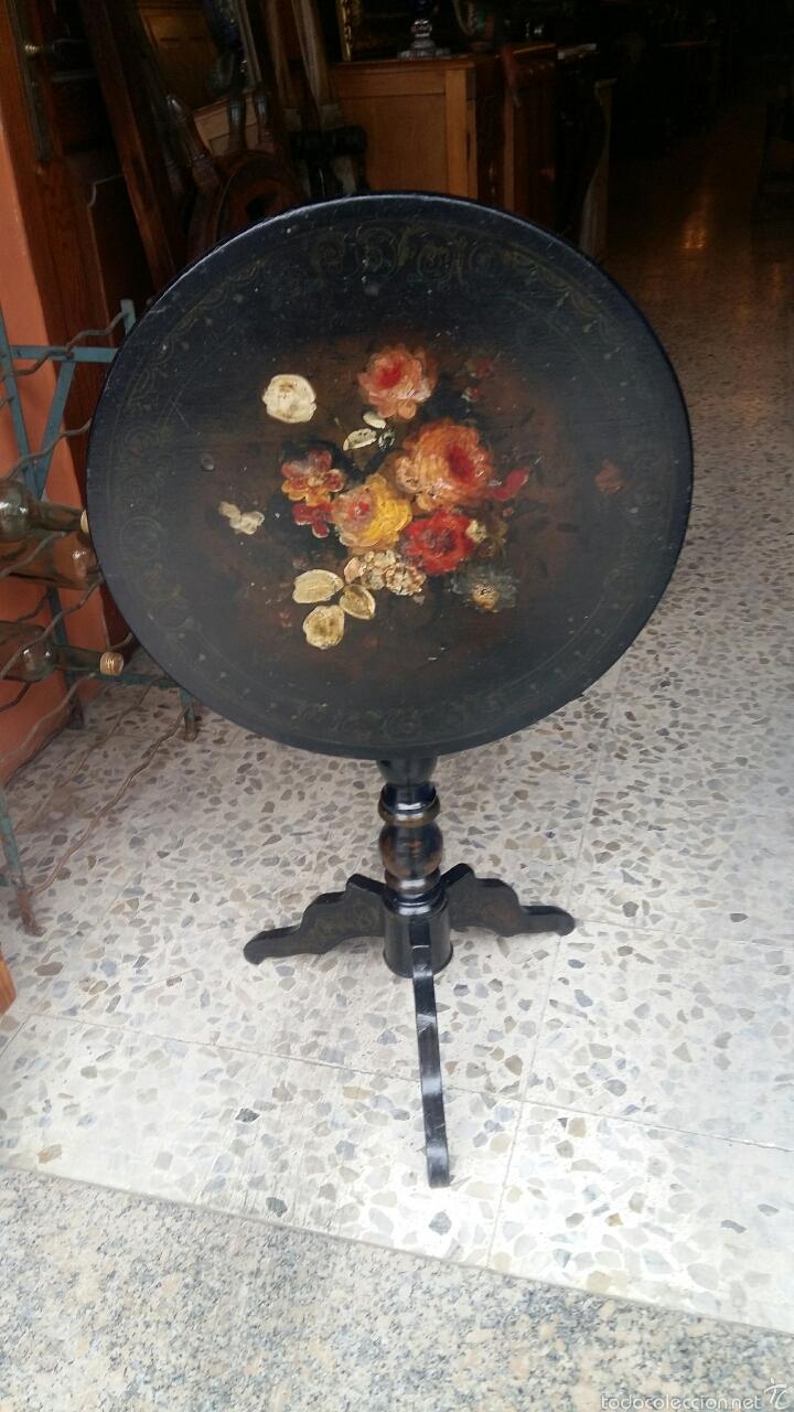 Antigüedades: Mesa velador pintada a mano - Foto 4 - 54027215