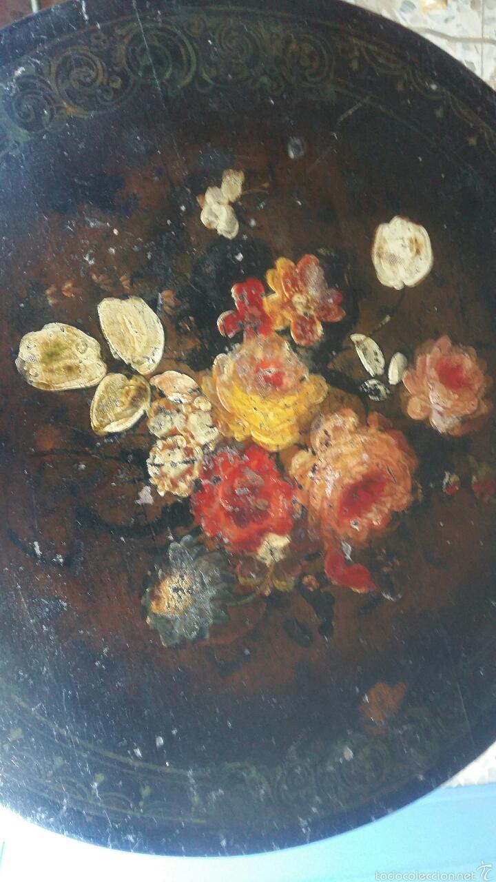 Antigüedades: Mesa velador pintada a mano - Foto 6 - 54027215