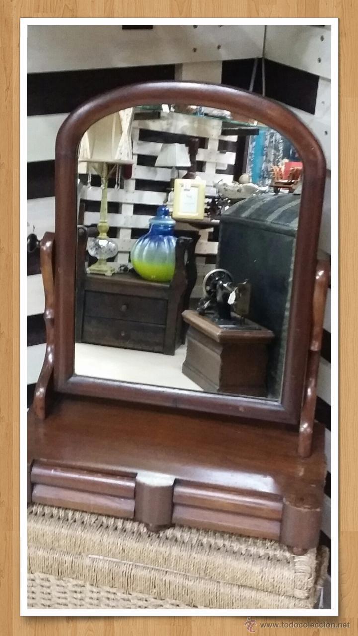 Espejo tocador antiguo en madera sapeli con caj comprar - Espejo veneciano antiguo ...