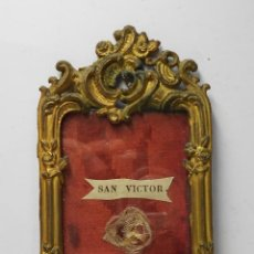 Antigüedades: ANTIGUO RELICARIO DE BRONCE. S. XIX. SAN VÍCTOR MÁRTIR.. Lote 54049908