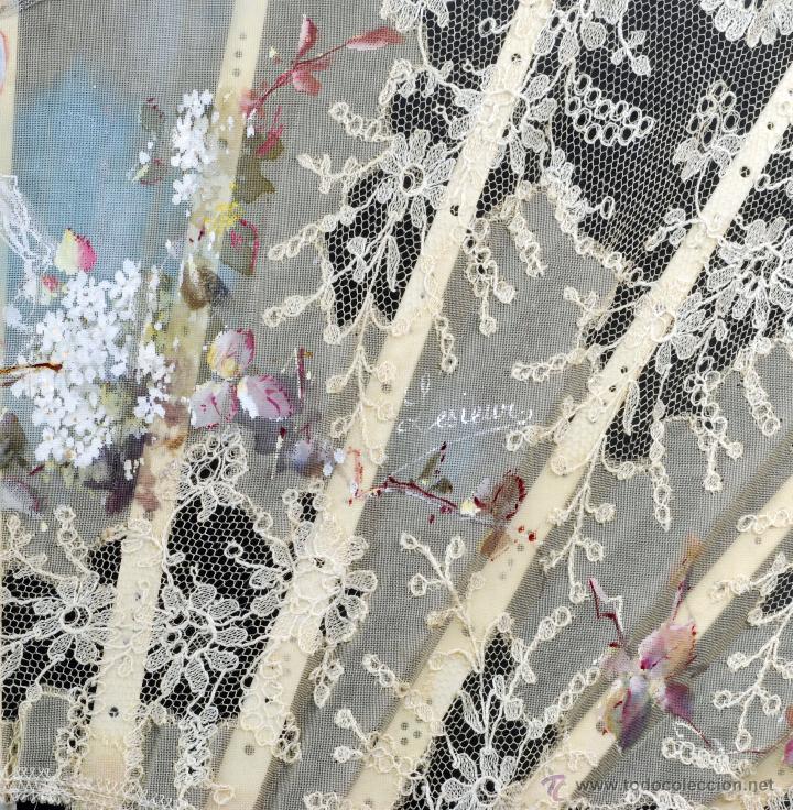 Antigüedades: Abanico varillas nácar país seda pintada escena Cupido y encaje S XIX firmado Lesieur caja - Foto 6 - 54055013