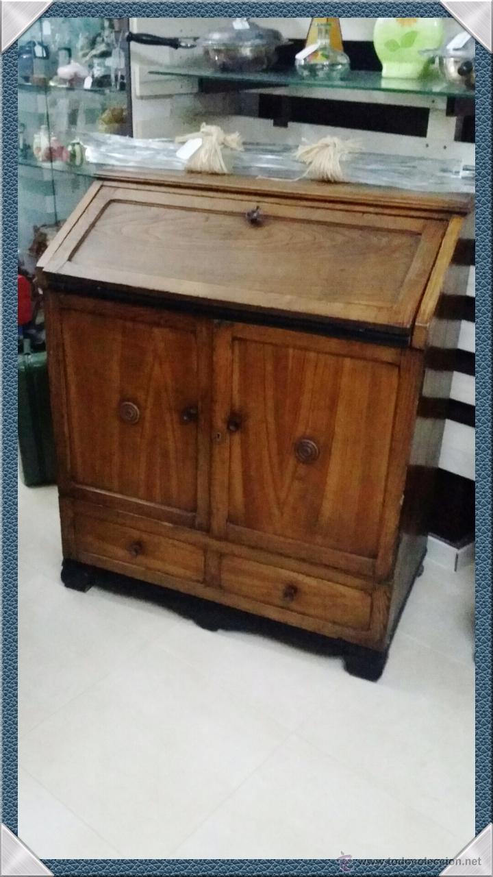 rustico secreter escritorio en madera con puertas