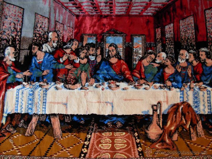ANTIGUO TAPIZ DE LA SANTA CENA DE GRAN TAMAÑO (Antigüedades - Hogar y Decoración - Tapices Antiguos)