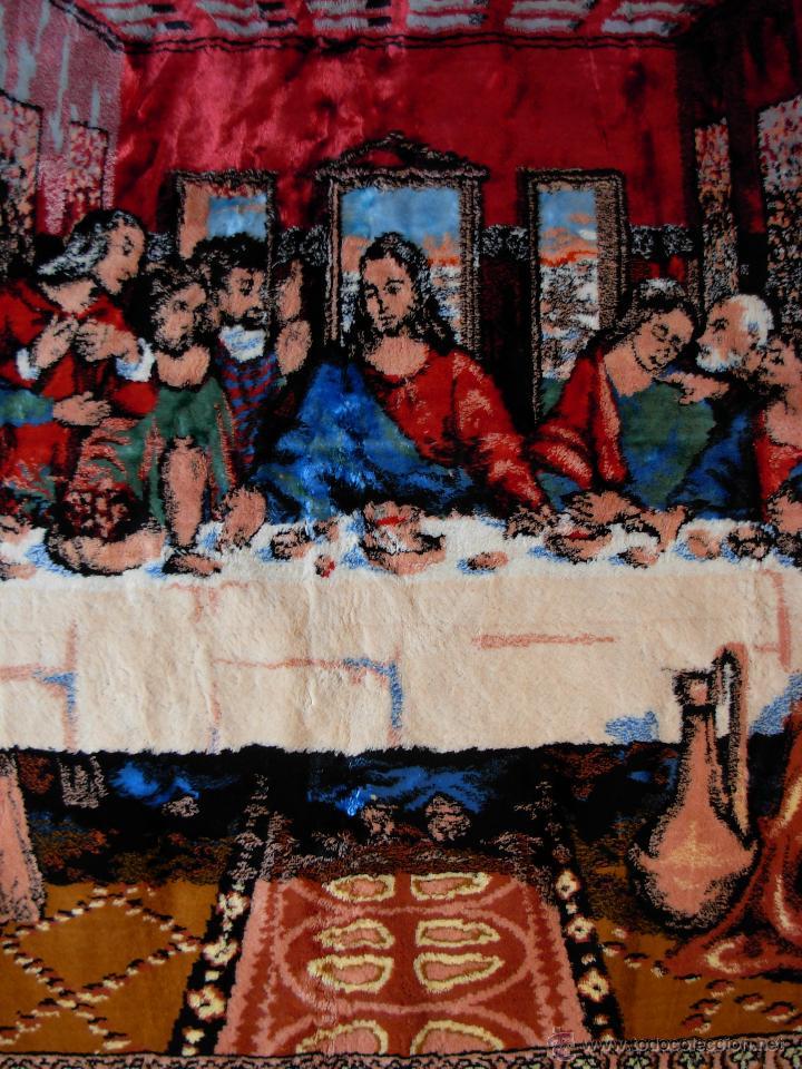 Antigüedades: Antiguo tapiz de la Santa Cena de gran tamaño - Foto 4 - 54064582