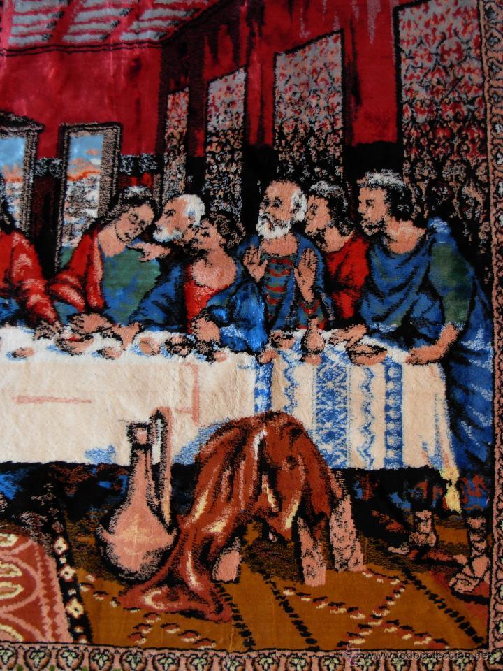 Antigüedades: Antiguo tapiz de la Santa Cena de gran tamaño - Foto 5 - 54064582