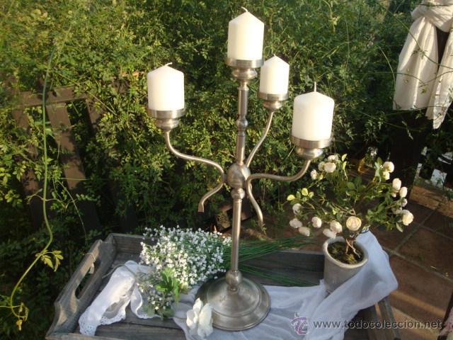 Antigüedades: Antiguo candelabro de metal - Foto 4 - 54064936