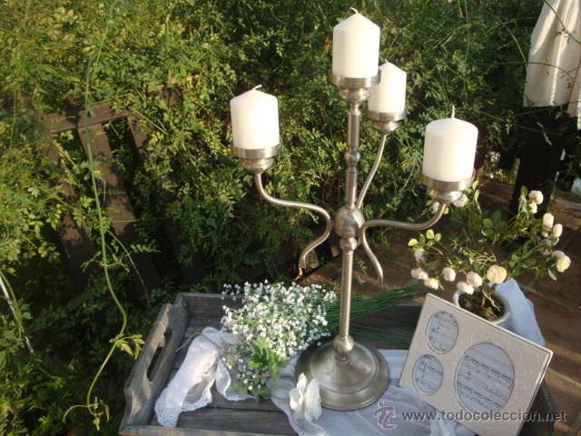 Antigüedades: Antiguo candelabro de metal - Foto 5 - 54064936