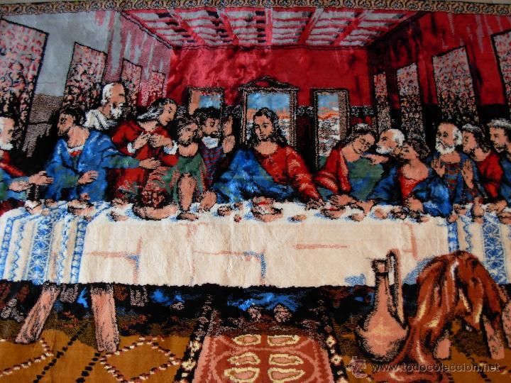 Antigüedades: Antiguo tapiz de la Santa Cena de gran tamaño - Foto 6 - 54064582