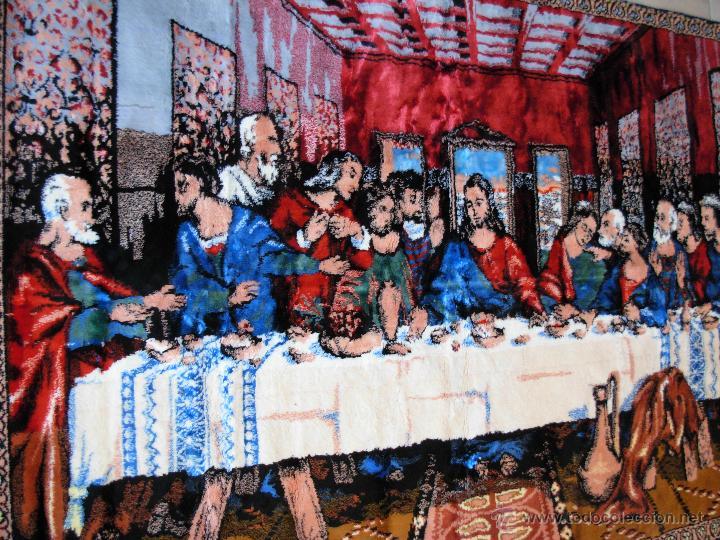 Antigüedades: Antiguo tapiz de la Santa Cena de gran tamaño - Foto 7 - 54064582