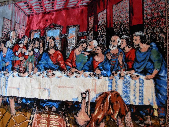 Antigüedades: Antiguo tapiz de la Santa Cena de gran tamaño - Foto 8 - 54064582