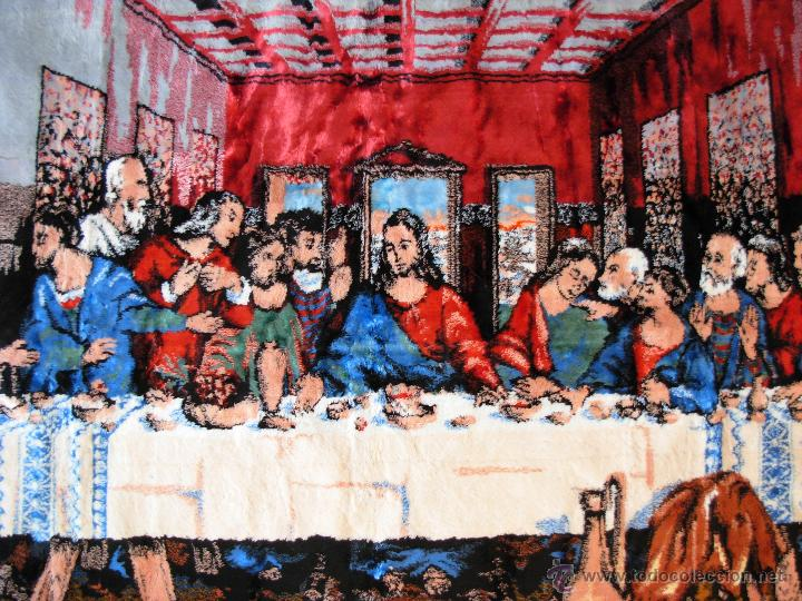 Antigüedades: Antiguo tapiz de la Santa Cena de gran tamaño - Foto 9 - 54064582