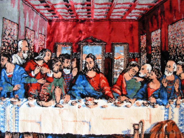 Antigüedades: Antiguo tapiz de la Santa Cena de gran tamaño - Foto 13 - 54064582