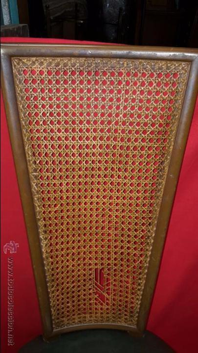 Antigüedades: Pareja de sillas de confidentes con alto respaldo y sillón en polipiel verde. - Foto 3 - 54065464