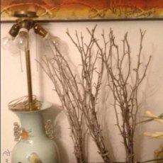 Antigüedades: LAMPARA DE TRES BOMBILLAS-PORCELANA CHINA. Lote 61300950