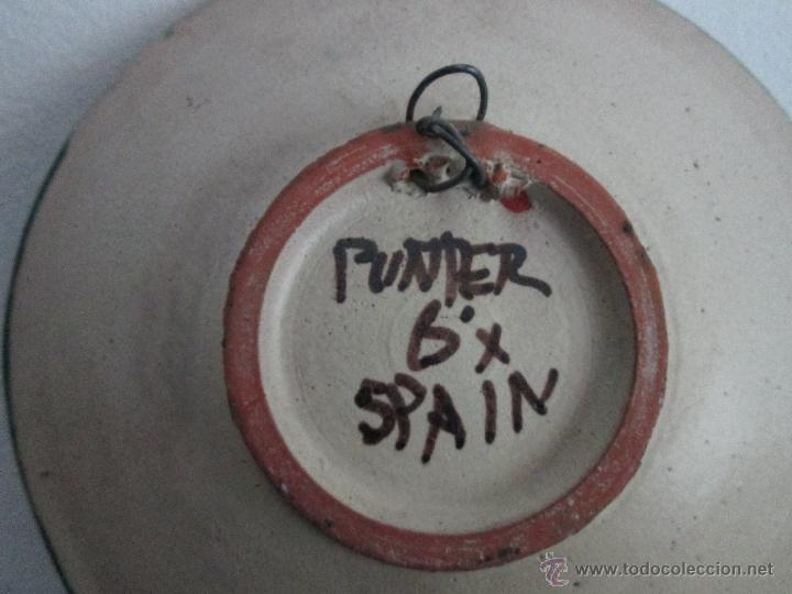 Antigüedades: plato de teruel marcado punter - Foto 3 - 54079290