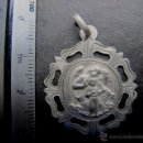 Antigüedades: MEDALLA RELIGIOSA ANTIGUA ANGEL DE LA GUARDA PLATA CINCELADA. Lote 54086062