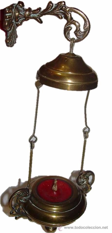 ANTIGUA Y BONITA LAMPARA VOTIVA DE BRONCE Y LATON. (Antigüedades - Religiosas - Varios)