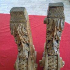 Antigüedades: 2 PIEZAS MENSULAS DE MADERA DE SUJETAR SIGLO XVII PRECIOSAS.. Lote 54132917