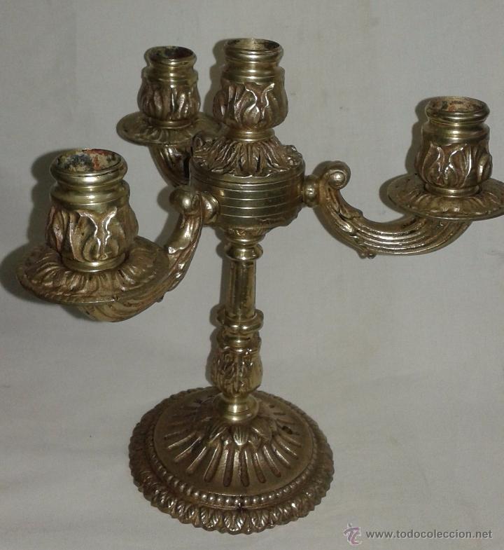 Antigüedades: Pareja de candelabros de bronce, mediados del siglo XX - Foto 4 - 54150839