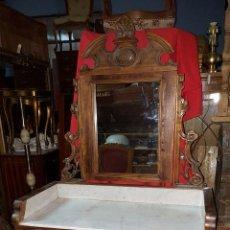 Antigüedades: PRECIOSO LAVABO O CÓMODA CON ESPEJO ALFONSINO CON TAPA DE MÁRMOL.. Lote 54164476
