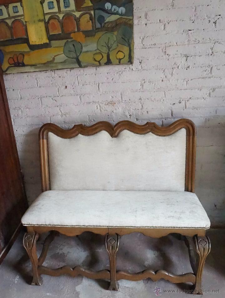 antiguo banco nogal tapizado - Comprar Sofás Antiguos en ...