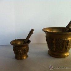 Antigüedades: CONJUNTO DE DOS ALMIREZ O MORTEROS METAL BRONCE. Lote 54180231