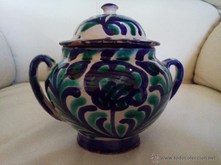 ANTIGUO AZUCARERO U ORZA CERÁMICA FAJALAUZA (Antigüedades - Porcelanas y Cerámicas - Fajalauza)