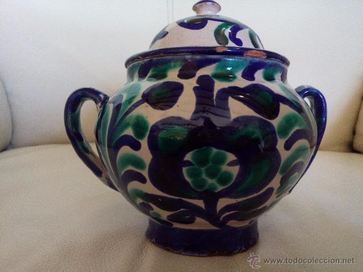 Antigüedades: Antiguo azucarero u orza cerámica Fajalauza - Foto 2 - 54181100