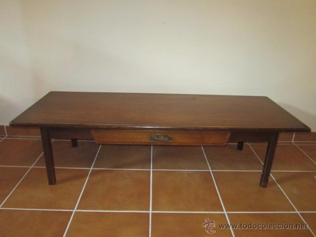 Bonita mesa de sal n baja en madera de roble c comprar mesas antiguas en todocoleccion 54184552 - Mesa salon roble ...