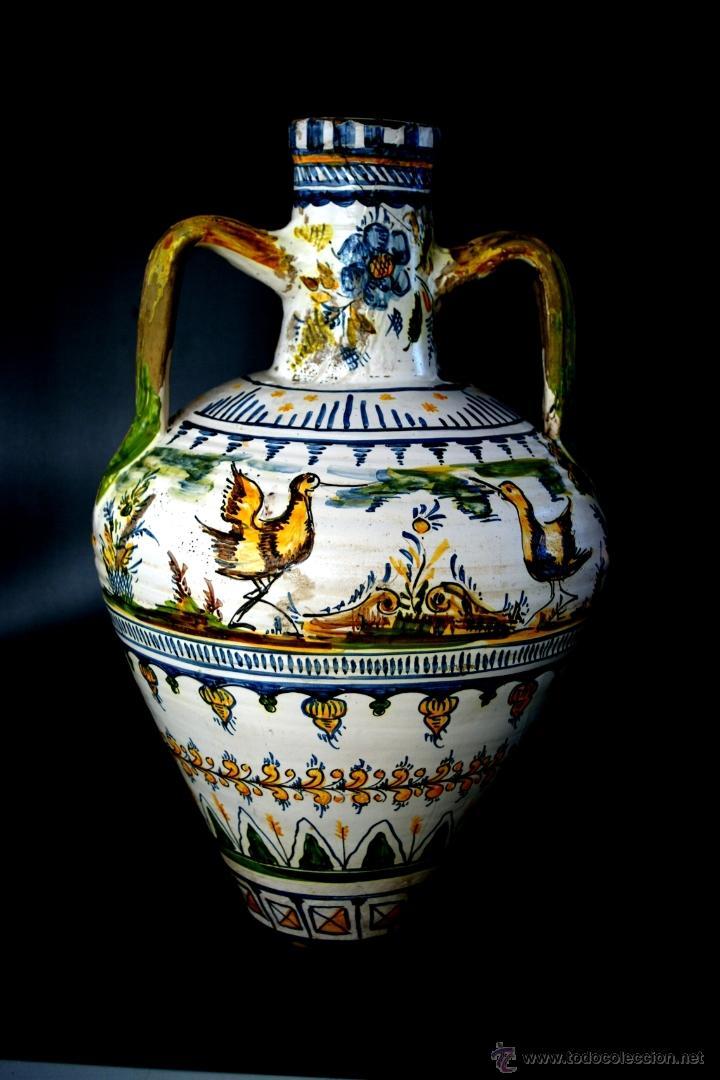 GRAN CÁNTARO TRIANA - DECORACIÓN DE AVES ZANCUDAS S. XIX (Antigüedades - Porcelanas y Cerámicas - Triana)
