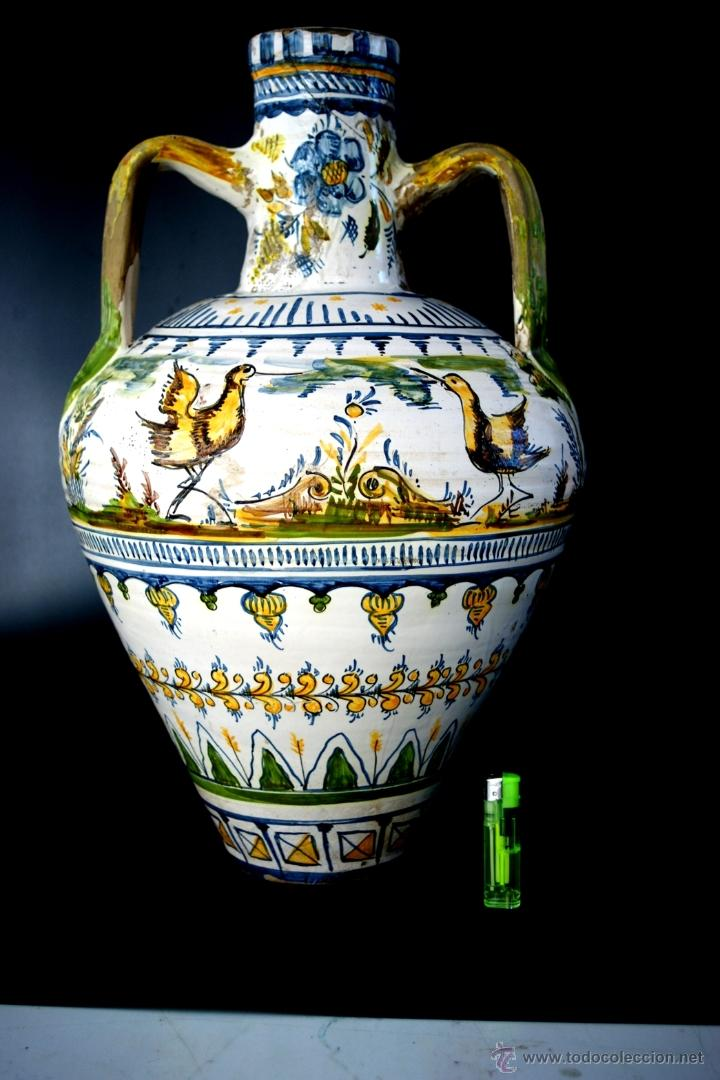 Antigüedades: GRAN CÁNTARO TRIANA - DECORACIÓN DE AVES ZANCUDAS S. XIX - Foto 4 - 54193598