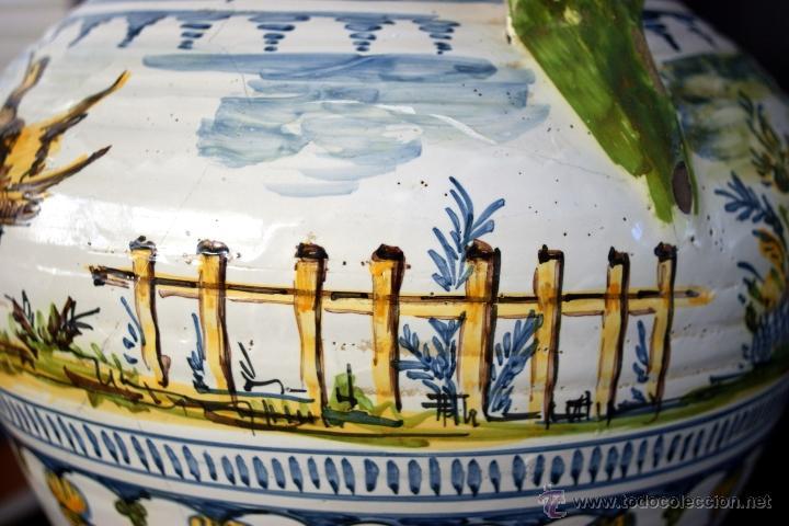 Antigüedades: GRAN CÁNTARO TRIANA - DECORACIÓN DE AVES ZANCUDAS S. XIX - Foto 5 - 54193598