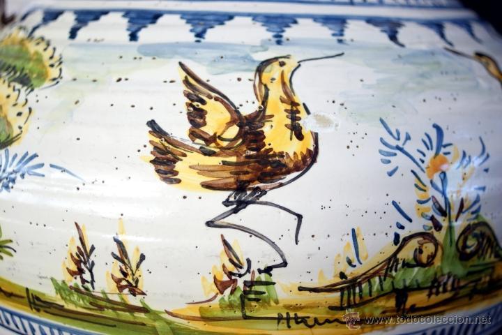 Antigüedades: GRAN CÁNTARO TRIANA - DECORACIÓN DE AVES ZANCUDAS S. XIX - Foto 14 - 54193598