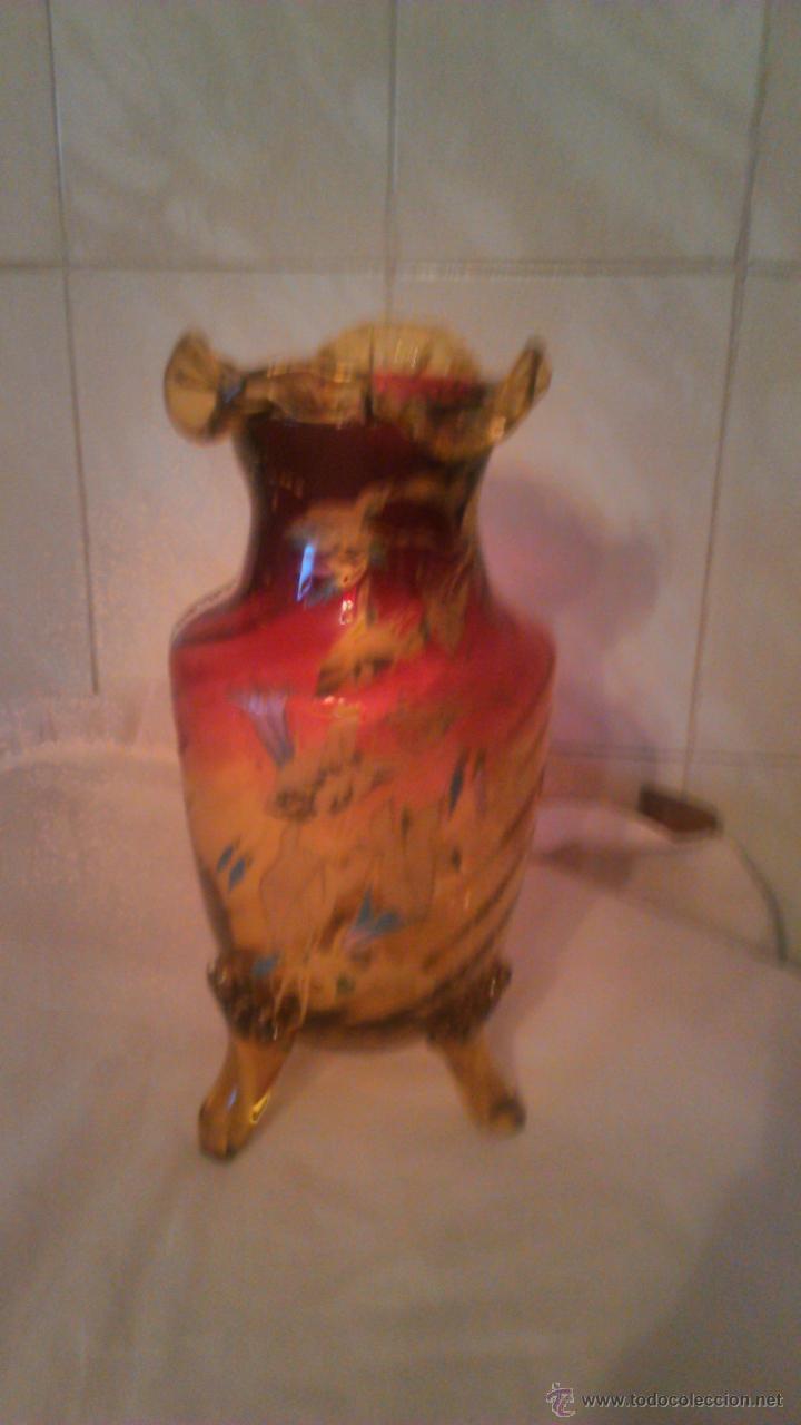 Antigüedades: Espectacular y antiguo jarrón de cristal de murano,color rojo y naranja ,pintado a mano.años 30 - Foto 2 - 54210359
