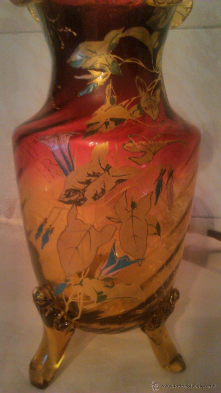 Antigüedades: Espectacular y antiguo jarrón de cristal de murano,color rojo y naranja ,pintado a mano.años 30 - Foto 3 - 54210359