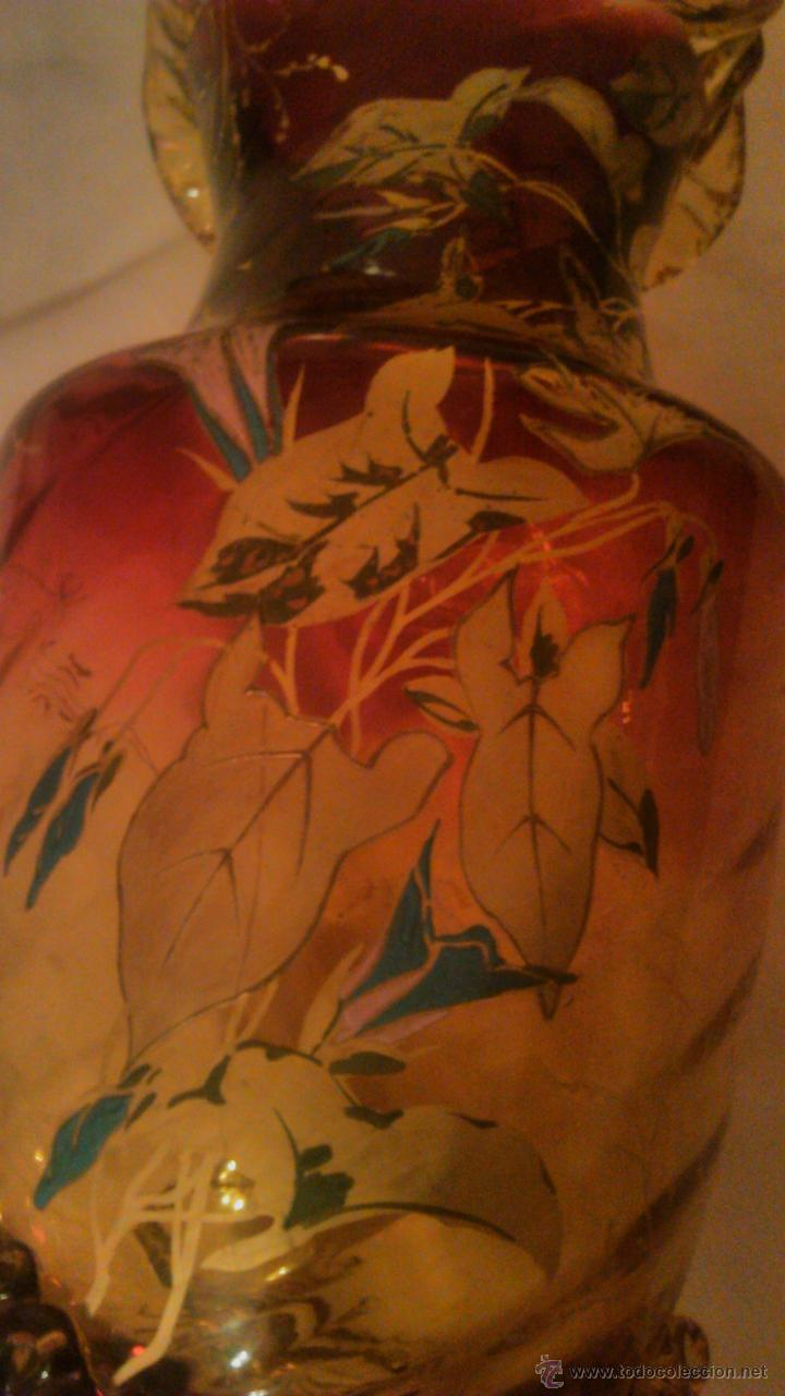 Antigüedades: Espectacular y antiguo jarrón de cristal de murano,color rojo y naranja ,pintado a mano.años 30 - Foto 8 - 54210359