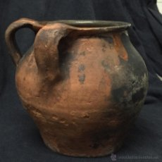 Antigüedades: ANTIGUA ORZA O PUCHERO BARRO CON 2 DOS ASAS. Lote 54215360