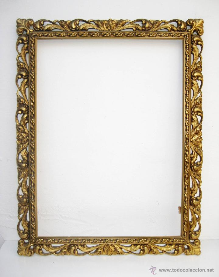 Marco madera antiguo dorado ideal espejo port comprar - Marco foto antigua ...