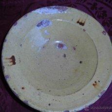 Antigüedades: MAGNIFICO PLATO CERAMICA CATALANA VIDRIADO SIGLO XIX. Lote 54243526