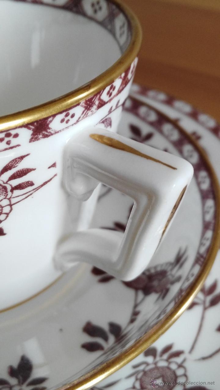 TRIO (TAZA Y DOS PLATITOS) MINTON DELFT MARRON 1872 (Antigüedades - Porcelanas y Cerámicas - Inglesa, Bristol y Otros)
