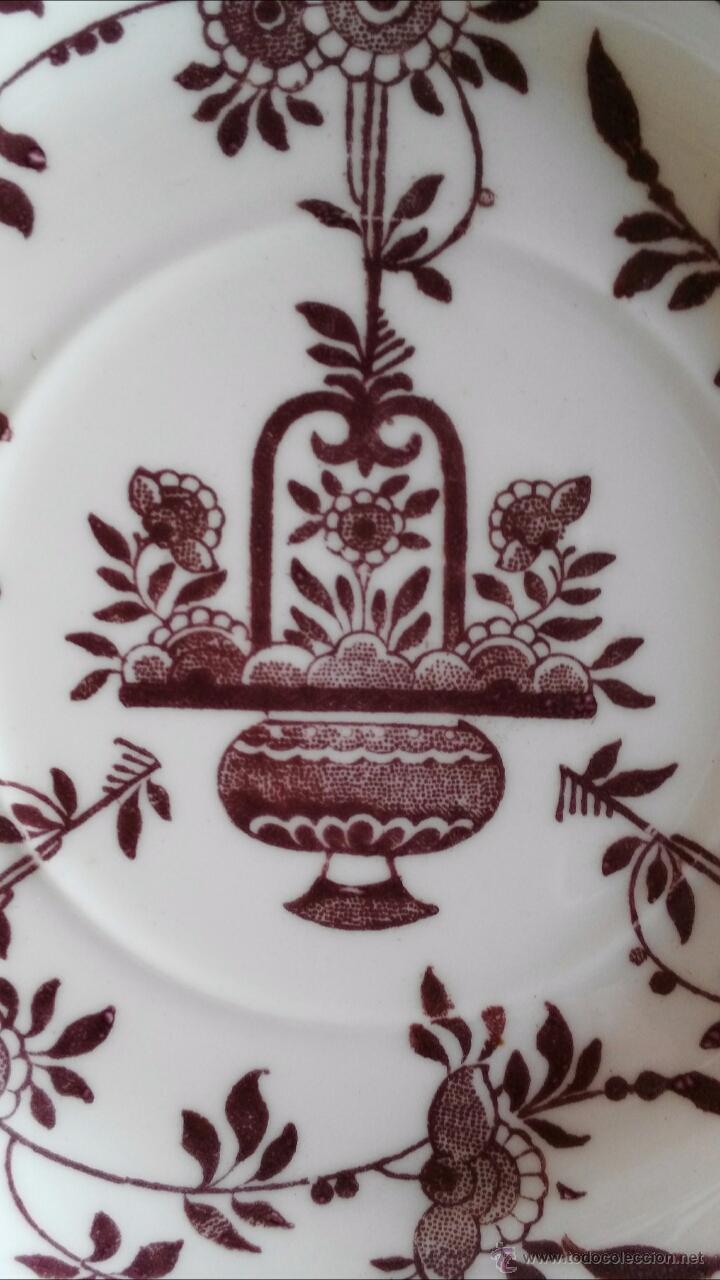 Antigüedades: TRIO (TAZA Y DOS PLATITOS) MINTON DELFT MARRON 1872 - Foto 5 - 54258814