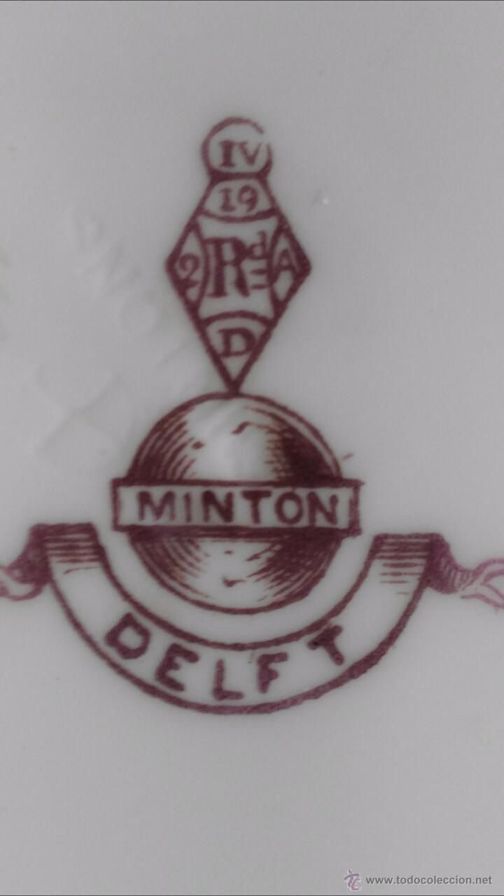 Antigüedades: TRIO (TAZA Y DOS PLATITOS) MINTON DELFT MARRON 1872 - Foto 6 - 54258814