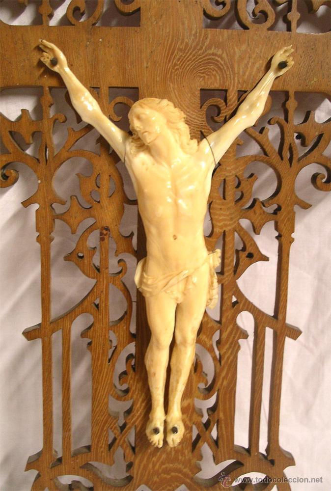 Antigüedades: Cristo Crucifijo 4 clavos talla de Marfil S XIX, buen estado. Med. cruz 38 x 23 cm. - Foto 2 - 54264016