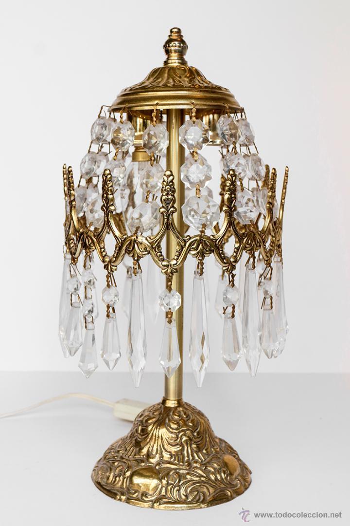 L mpara de mesa con l grimas de cristal antiguo comprar - Lamparas para mesa ...