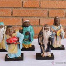 Antigüedades: 5 INMORTALES CHINOS DE CERAMICA ANTIGUA DE ALGORA. Lote 54269843