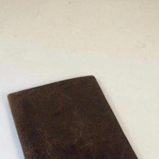 Antigüedades: ANTIGUA CARTERA DE PIEL CON PUBLICIDAD - MORALES - COÑAC VIEJO LARABIDA - LA PALMA DEL CONDADO. . Lote 54271315