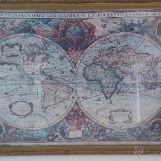 Antigüedades: BONITO MARCO ANTIGUO CON CURIOSO MAPA MARÍTIMO Y GEOGRÁFICO, REPRODUCCIÓN DE 1630 D'HENRI HONDIUS. Lote 54276817