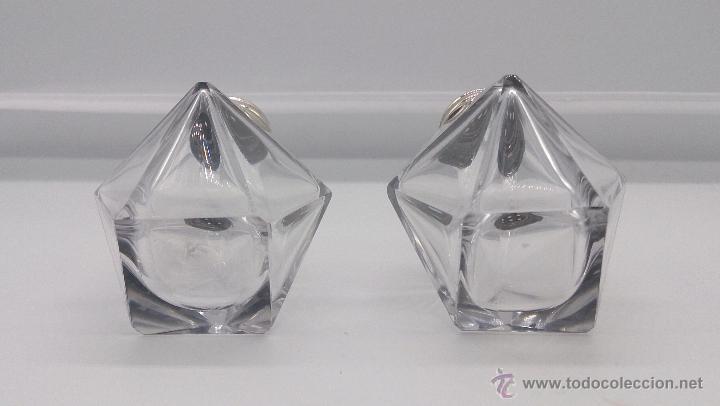 Antigüedades: Juego de antiguos saleros art deco en cristal de roca tallado y plata de ley contrastada . - Foto 5 - 54280649