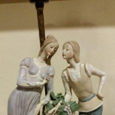 Antigüedades: LAMPARA DE SOBREMESA EN PORCELANA MUY ANTIGUA. Lote 54283908