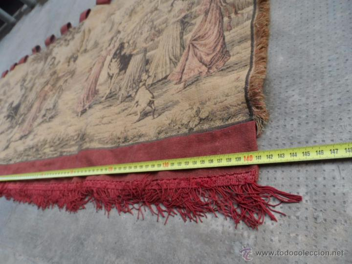 Antigüedades: copete tapiz precioso volante de cortina antiguo 1.40 metros cortina de tapiceria - Foto 2 - 54285216
